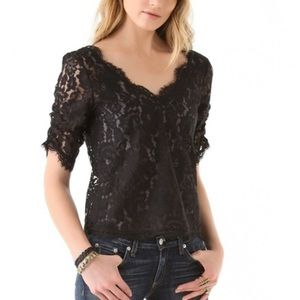 Joie black lace top, size small